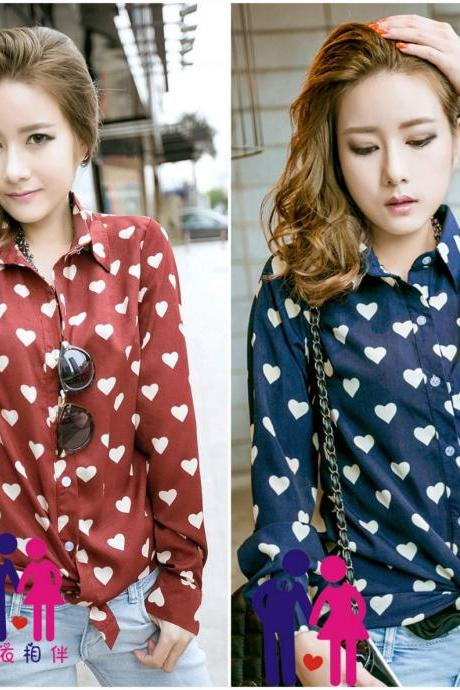 Adorable Retro Heart Print Long Sleeve Top In Red And Blue