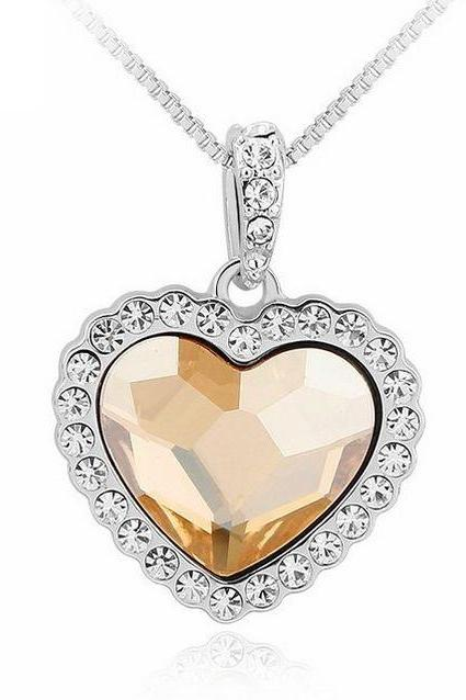 Heart shape Swarovski Elements champagne crystals necklace