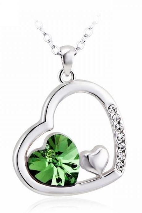 Heart jewelry Swarovski green crystals wedding necklace