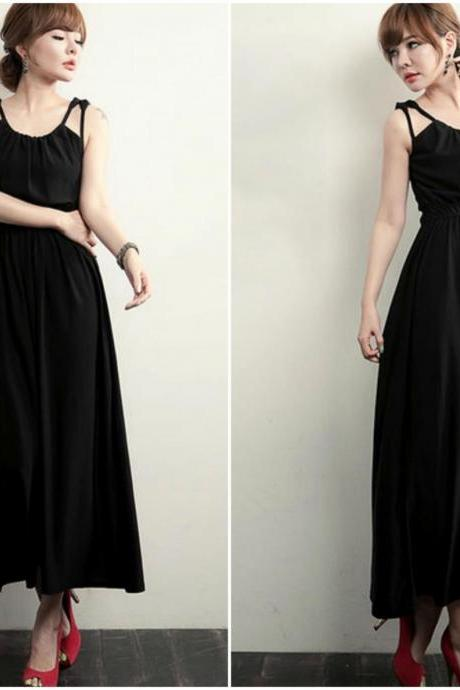 Sleeveless Black Chiffon Maxi Dress