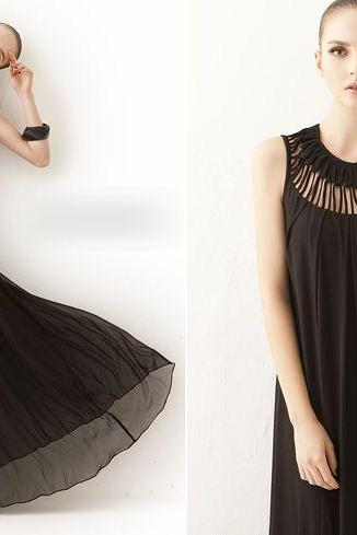Luxury Black Sleeveless Chiffon Maxi Dress