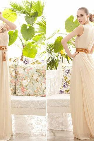 Gorgeous Chiffon Maxi Dress In Apricot