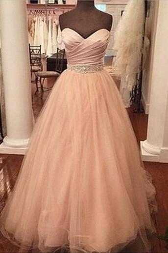 Custom Made A Line Sweetheart Neck Floor Length Prom Dresses, Dresses For Prom