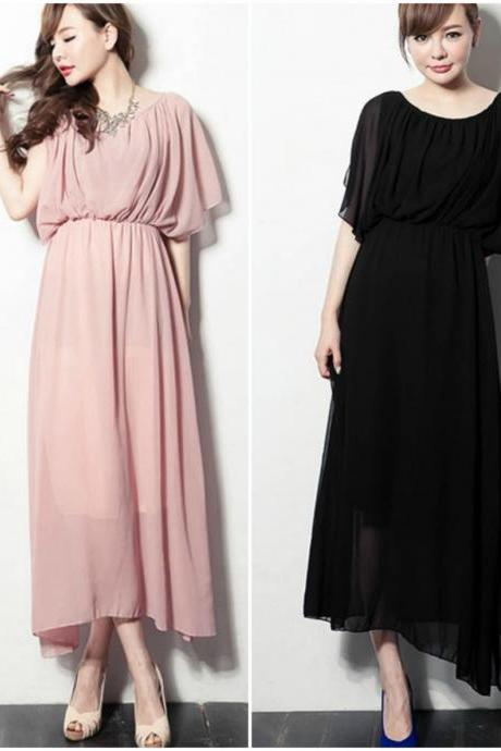 Summer Fashion Bohemian Chiffon Maxi Dress In Pink And Black