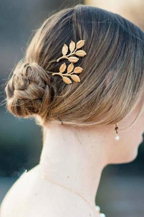 Golden Leaf Hair Pin