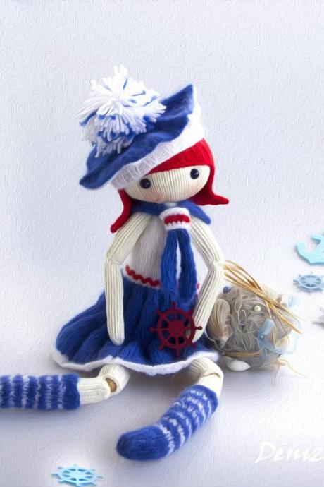Marine Doll - pdf knitting pattern. Knitted round. Bead jointed doll.