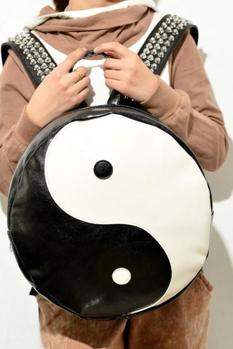 Yin Yang Rivets Black And White Backpack