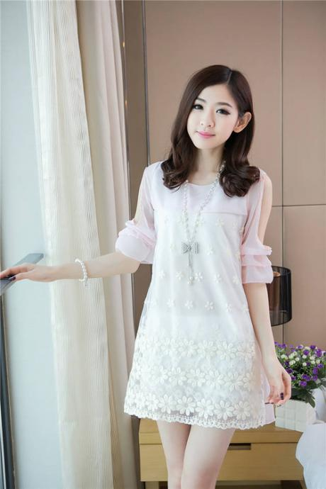 Gorgeous Floral Light Pink Lace And Chiffon Dress