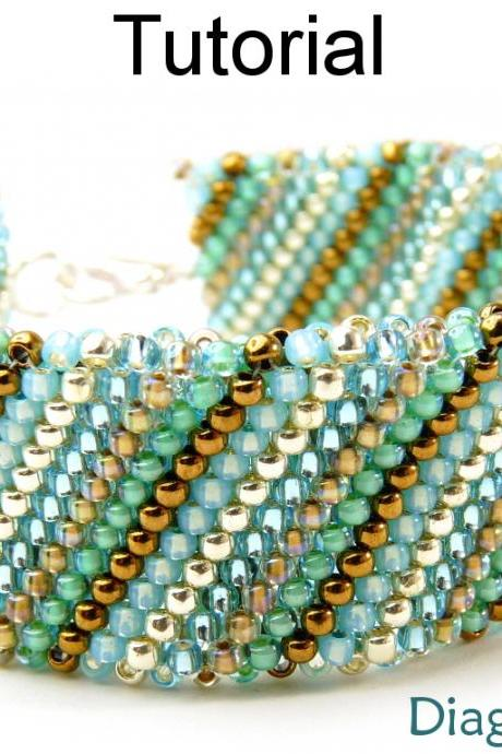 Beading Tutorial Bracelet - Flat Tubular Peyote Stitch - Simple Bead Patterns - Diagonal Diva #14073