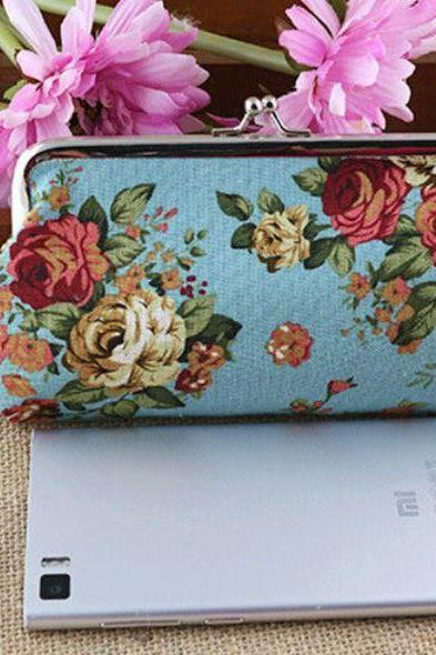 Blue Purse Coin Purse Clutch Printed Floral Blue Wallet for Women