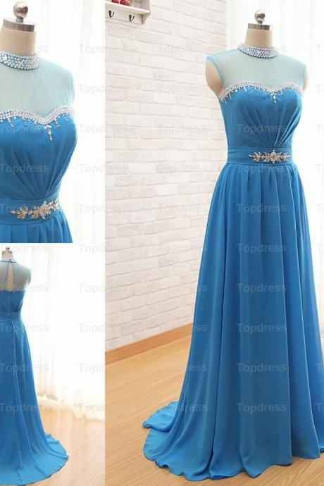 High Neck Long Chiffon Prom Dresses,Elegant Evening Dresses,Sequined Beaded Crystals Party Dresses,2015 Formal Gowns