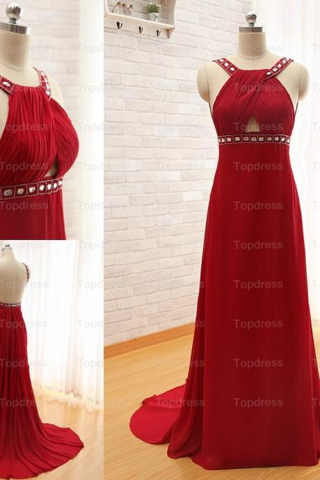 2016 Sexy long Chiffon Red Prom Dresses A-line Spaghetti Backless Crystals Beading Ruched Party Dresses Evening Gowns