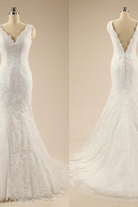 White Lace Mermaid Wedding Dresses, 2015 V-neck Backless Court Train Bridal Dress,Elegant Wedding Dresses,Custom Made