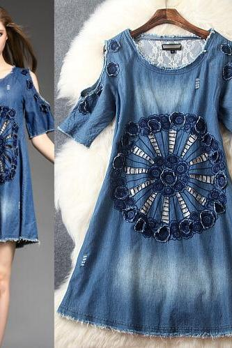 Round collar embroidery cowboy dress