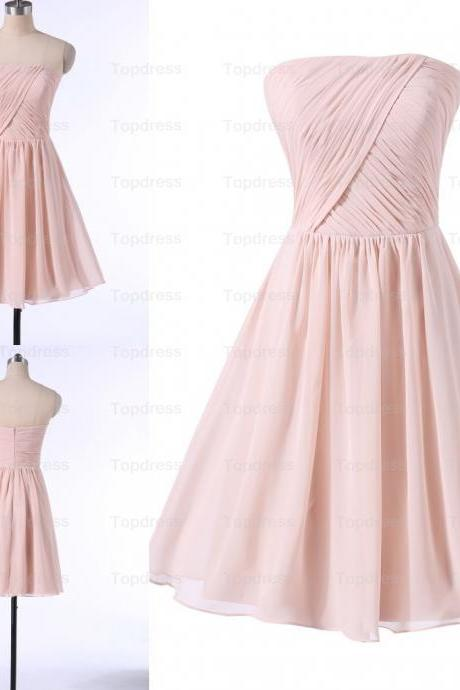 Simple Skin Pink Short Chiffon Bridesmaid Dresses,Strapless Prom Dresses,Party Gowns,Pleat Homecoming Dresses