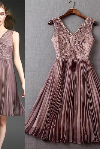 Luxury nail bead embroidery pleated cultivate one's morality dress dress 3 color