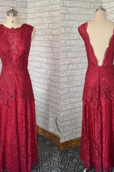 Deep Red Elegant Evening Dresses,Sexy Backless Formal Party Dresses,Lace Women Dresses ,long Prom Dresses