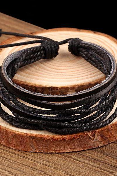 Handmade unisex friendship black Pu leather bracelet
