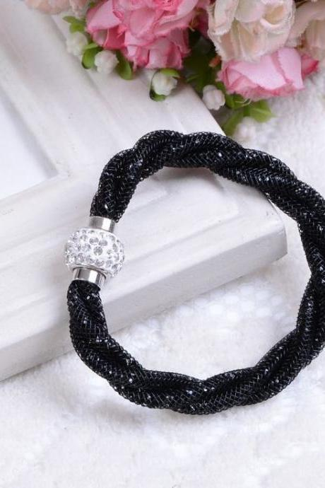 Casual rope chain rhinestone black woman bracelet