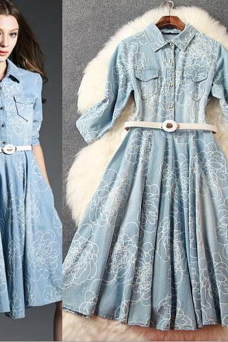 High-end posed embroidery lapel jacquard denim dress