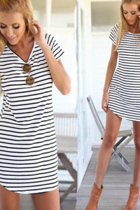 CUTE STRIPE SHORT SLEEVE DRESS