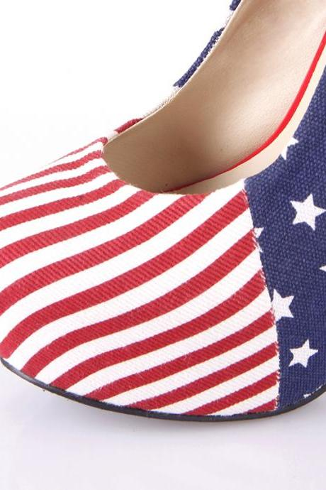 Sexy Womens Platform Pumps American Flag Stiletto Super High Heels Shoes