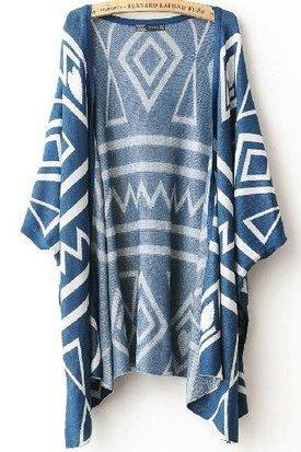 Geometric Shawl Loose Sweater Coat