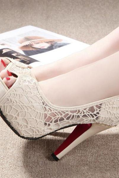 Sexy Women White/Ivory Lace Up Unique Stiletto Dance Party High Heel Shoes Pumps