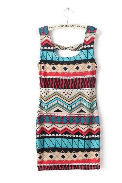 Geometric Pattern Vest Dress With Bowknot Back skirt