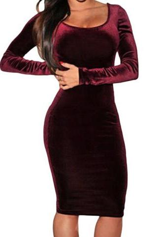 Red Wine Velvet Long Cocktail Solid Midi Dress Women Party Winter dress