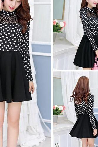 Sweet Hearts Print Long Sleeve Gathered Waist Dress