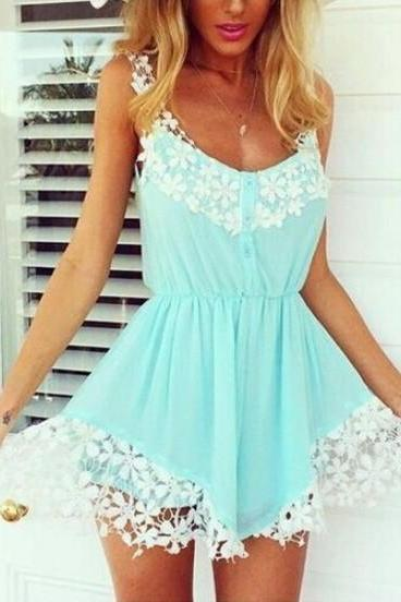 2015 Sexy Women Ladies Lace Chiffon Strap Mini Dress