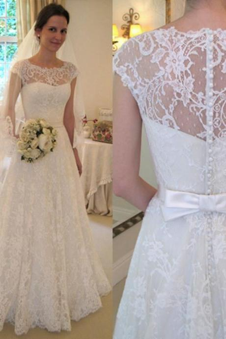 Cap sleeve boat neck ivory lace A line floor length beaded wedding dresses