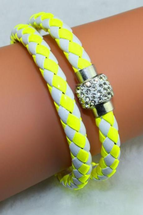 Pu Leather Vintage Friendship white-yellow Bangle Teen Bracelet