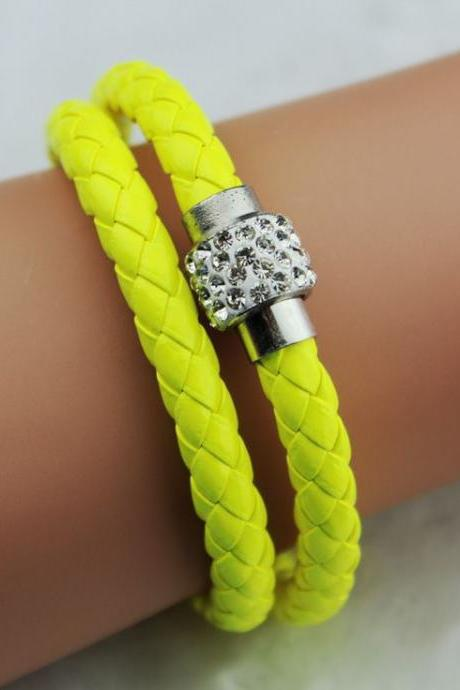 Pu Leather Vintage Friendship Yellow Bangle Teen Bracelet