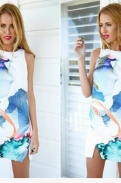 Digital printing sleeveless dresses WY