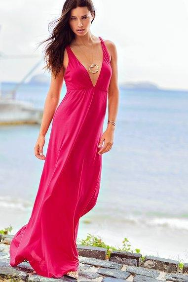 Spandex mercerized cotton deep V slim dress, beach skirt, dress color optional