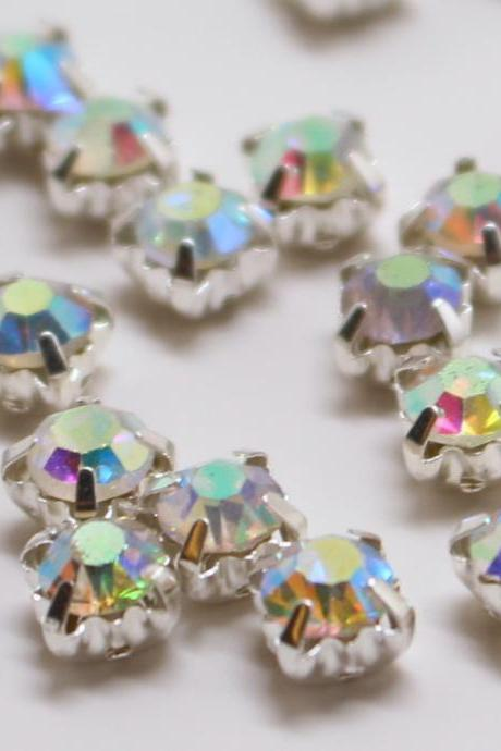 4.5mm loose beads sew on AB diamante rhinestone crystal chaton montee SILVER A GRADE 1440pcs