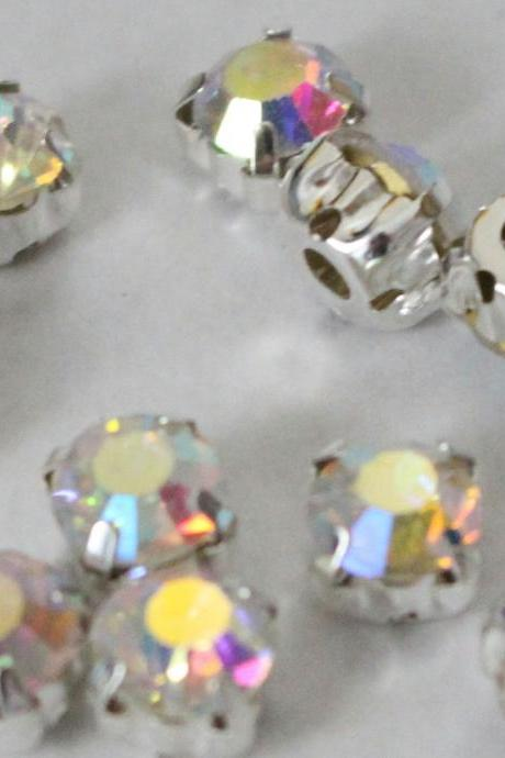 6mm loose beads sew on AB diamante rhinestone crystal chaton montee SILVER A GRADE 720pcs