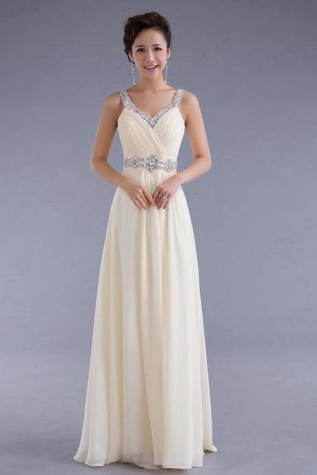 Long Prom Dresses Straps Champagne Evening Dress Party Dress Prom Gown S107-4