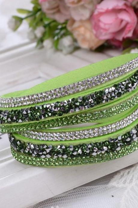 Multi Layer Rhinestones Light Green Dress Party Girl Bracelet