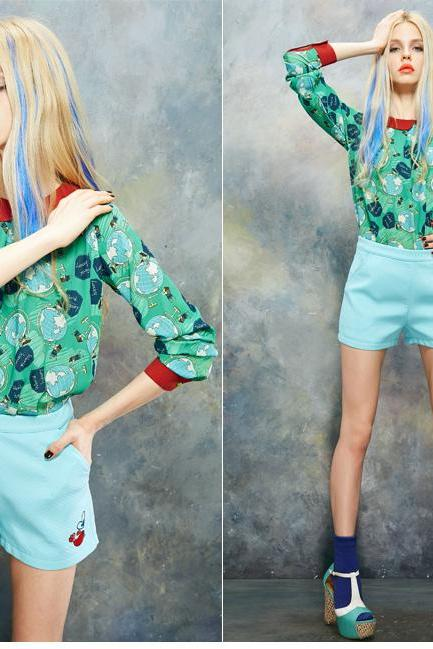 *Free Shipping* summer female print long-sleeve turn-down collar loose chiffon shirt