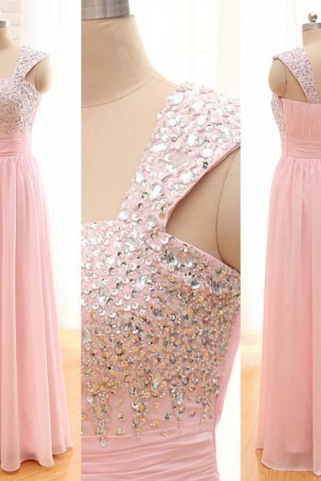 2016 new Long Chiffon Prom Dresses,One shoulder Bridesmaid Dresses,Sequined Beaded Evening Dresses,Backless party Dresses
