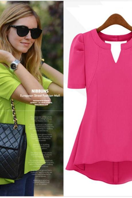 2015 summer new European and American ladies short-sleeved chiffon shirt Puff ladies in long shirt chiffon shirt