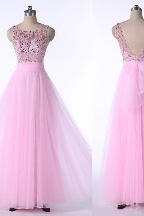 2016 New Arrival Pink long Prom Dresses A-line Scoop Backless tulle Graduation Dresses With Beaded Crstals Prom Dresses