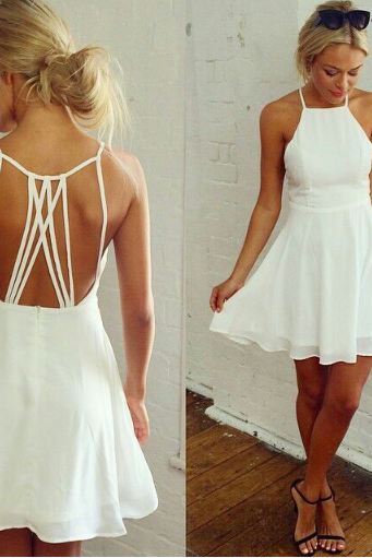 White halter strap dress