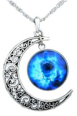 Women's Crescent Moon Galactic Universe Cabochon Pendant Necklace Christmas Gift