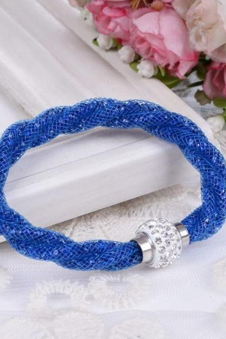 Casual Rope Chain Rhinestone Dark Blue Woman Bracelet