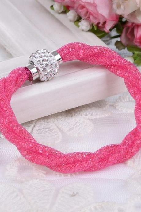 Casual Rope Chain Rhinestone Hot Pink Woman Bracelet