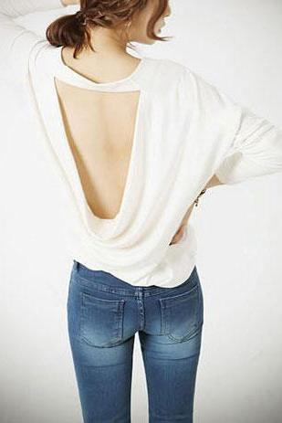 Clubwear Beige Long Sleeve Crew Neck Low Cut Shirt Blouse